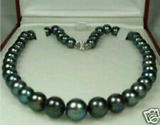GENUINE 10-11MM BLACK NATURAL TAHITIAN PEARL NECKLACE 18""