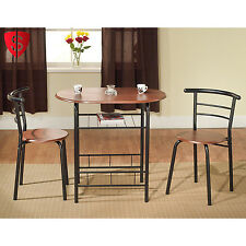 3 Piece Wood Bistro Set Dining Table 2 Chairs Home Kitchen Wood Furniture