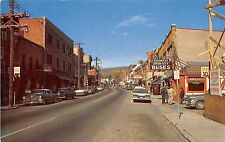 B14/ Liberty New York NY Postcard Chrome Main Street Drug Store Bus Stop