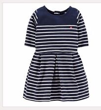 Carter's Striped Pleated Dress Embroidered Heart Toddler Girl's Clothes Size 2t