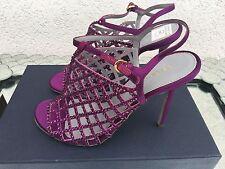 SERGIO ROSSI AMETHYST SWAROVSKI SANDALS Limited Heels Sz38 Chanel Louis Vuitton