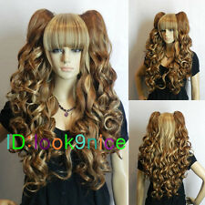 Lolita Brown Mixed Long Curly Girls Lady Cosplay Wig Clip in Two Ponytails NO126