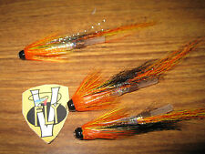 3 V Fly 1 1/4 Inch Gold Pearl Cascade Brass Salmon Tube Flies & Trebles
