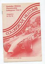 October 1973 Collingrove Hill Climb Programme Touring Racing Sports