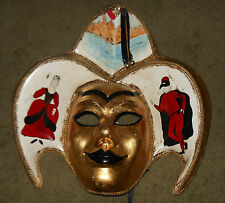 Papier Mache Jester Mask ~ Hand Painted Great Wall Hanging or Wearable Art