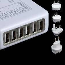 6 LED USB Port Wall Travel Charger + EU/USA/AU/UK Plug Adapter For Cell Phone