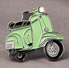 Metal Enamel Pin Badge Brooch Vespa Scooter Motorbike Bike Biker Rider Light Grn