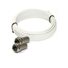 20m White Satellite TV  Coax Cable RG6 Saorview Freesat + 2 free F-connectors