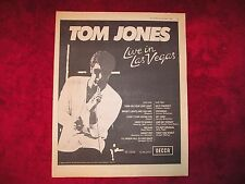 TOM JONES - 1969 UK Full-Page PROMO 'Live In Las Vegas' Album Ad (Disc Mag.)