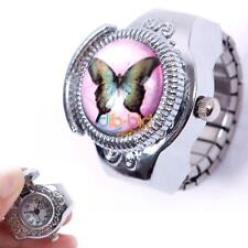 New Cute Woman Child Lady Girl Butterfly Elastic Quartz Finger Ring Watch Gift