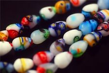 8pcs Assorted Colorized Teardrop Glass Millefiori Beads Spacer Finding 9.5x12mm