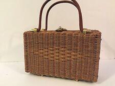 Vintage Wicker Purse Handbag Basket Leather Tote