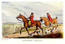 FOX HUNTING GOING TO COVER, HOUNDS HUNTSMEN HORSES ANTIQUE PRINT