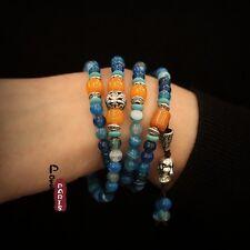 Bracelet Argenté Elastique Longue Charms Budha Perle Agate Bleu Class Multirang