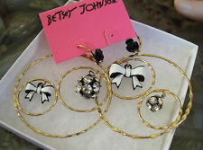 BETSEY JOHNSON HOOP DISCO BALL & BOW PIERCED EARRINGS NWT $45