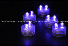 10 PURPLE SUPER Bright Dual LED Tea Light Submersible Floralyte Party Wedding