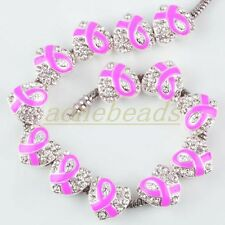 10X Pink Ribbon Breast Cancer Awareness Crystal Heart Charm Spacer Beads Finding