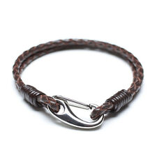Men Unisex Genuine Braided Leather Stainless Steel Key Clasp Bracelet Brown B20