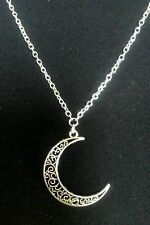 "A Filigree Crescent Moon Tibetan Silver Charm  Pendant, Long 30"" Chain Necklace"