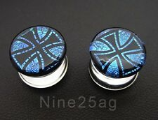 "PAIR OF Dichro Pyrex GLASS 000G 7/16"" CROSS plugs Body Jewelry 12MM"