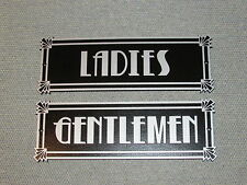 Art Deco Style Silver and Black Ladies & Gentlemen Restroom Signs Set