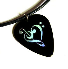 Music Heart Guitar Pick Necklace, holo black, musician jewelry anniversary love