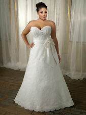 Ivory Natural line lace wedding dress bridal gown plus size 18 20 22 24 26 28+