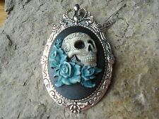 2 IN 1 SKULL AND ROSES HAND PAINTED CAMEO - BROOCH / PIN / PENDANT - ANY COLOR