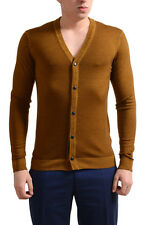 Just Cavalli Men's Brown 100% Wool Button Down Cardigan Sweater US M IT 50