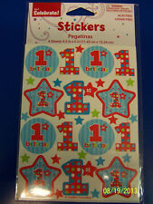 1st Birthday Stars Blue Boy First Birthday Party Favor Scrapbook Stickers Sheets