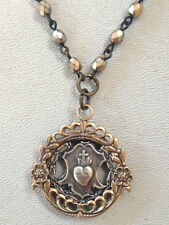 FRENCH Silver BRONZE Locket SACRED HEART Jesus Medal Pearl Crystal NECKLACE-n-sh