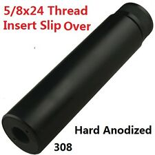 """6"""" Solid Tube Fake Can Slip Over Muzzle Brake 5/8x24 Pitch Thread For 308"""