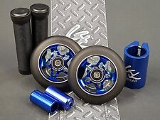 Blue Pro Star Black Metal Core Scooter Wheels x2 +Grips +Pegs +Clamp +GKTape