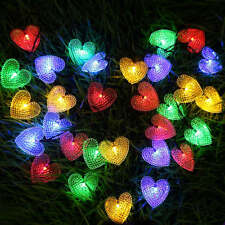 Outdoor String Lights 30LED 20ft Solar Powered String Heart-shaped