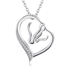 925 Sterling Silver Mother and Child Horse Head Heart Charm Pendant Necklace 18""