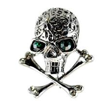 "SPARKLING SKULL & CROSSBONES BROOCH 1.5"" Pin Rhinestone HIGH QUALITY Goth Black"