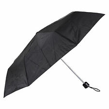 "Ladies Black 21"" Supermini Folding With Sleeve Umbrella Brolly Rain Outdoors New"