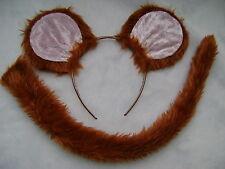 Jerry Mouse Tan Pink Ears & Tail Set Faux Fur Instant Fancy Dress Kids & Adult