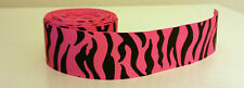 1 yard 38mm (1.5) wide HOT PINK/BLACK ZEBRA PRINTED GROSGRAIN RIBBON TRIM