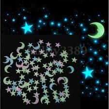 100Pcs 3D Moon Stars Glow In The Dark Luminous Wall Stickers Home Mural Art DIY