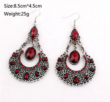New Jewelry Retro Silver ethnic Red Turquoise Elegant Dangle hook Earrings
