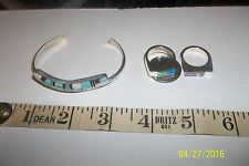 Native American Navajo  Lab Created Opal Sterling Silver Jewelry Set Yazzie