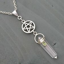 STUNNING Pentagram, Clear Quartz Point Crystal & Peridot Pendant Wicca Pagan