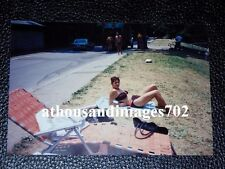 Vtg 90's Photo of Sexy Lady In Bikini Fashion Laying On Ground With Towel P162