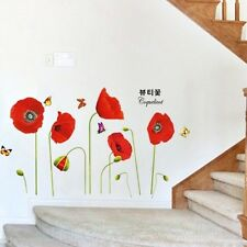 RED POPPY FLOWERS HOME DECOR NEW STICKERS SET MURAL WALL ART VINYL DIY DECALS