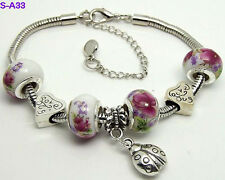 one new handmade beautiful charm bracelet European style porcelain beaded S-A33