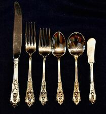 ROSE POINT BY WALLACE STERLING SILVER FLATWARE SET WITH SERVERS