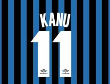 Kanu 11 Inter Milan 1997-1998 Home Football Nameset for shirt