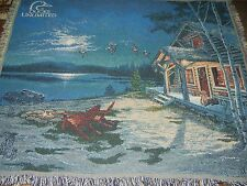 DUCKS UNLIMITED.ARTIST.CABIN.DOG.LAKE.DUCKS.AFGHAN.THROW.BLANKET