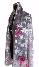 New Stunning 100% Pure Silk Floral Sheer Scarf Wrap, Light Gray/Hot Pink